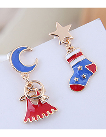 Fashion Red Xingyue Christmas Bell Christmas Boots Asymmetric Stud Earrings