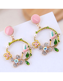 Fashion Pink Contrast Color Magenta Earrings