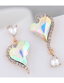Fashion Ab Color 925 Silver Needle Gem Heart Asymmetric Stud Earrings