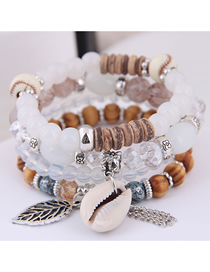 Fashion White Metal Leaf Conch Fringed Beaded Multi-layer Bracelet