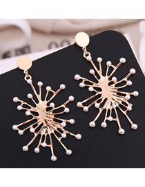 Fashion Gold Metal Flower Pearl Earrings
