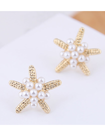 Fashion Gold (gold) Small Starfish Pearl Stud Earrings