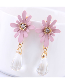 Fashion Pink 925 Silver Needle Daisy Drop Earrings