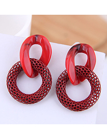 Fashion Red Irregular Resin Ring Metal Earrings