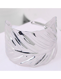 Fashion Silver Metal Leaf Open Bracelet