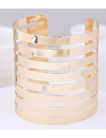Fashion Gold Metal Super Wide Opening Bracelet