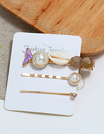 Fashion Purple Fishtail Conch Hair Clip Three-piece