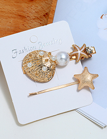 Fashion White Seashell Starfish Hair Clip Two-piece