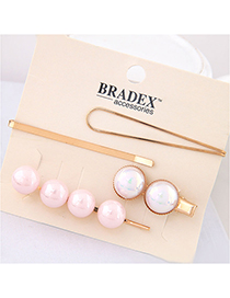 Fashion Pink Pearl Alloy Hair Clip Four-piece