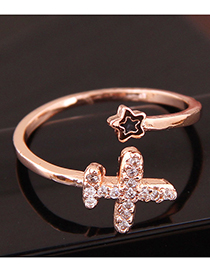 Fashion Gold Copper Inlaid Zircon Airplane Opening Ring