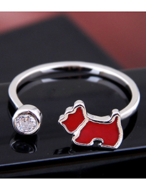 Fashion Silver Copper Lucky Dog Open Ring
