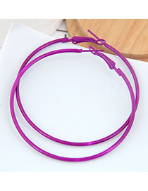 Purple Metal Fluorescent Color Ring Earrings