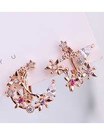 Fashion Gold Copper Micro-inlaid Zircon Star And Moon Asymmetrical Ear Clip