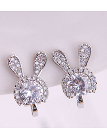 Fashion Silver Copper Micro-inlaid Zircon Rabbit Ear Clip