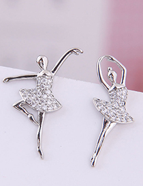 Fashion Print 925 Silver Needle Ballerina Girl Stud Earrings