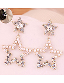Fashion White 925 Silver Needle Metal Hollow Double Five-pointed Star Stud Earrings