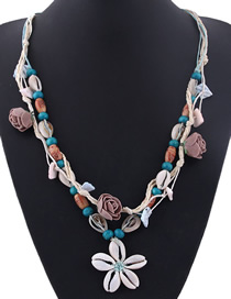 Fashion Blue Conch Shell Flower Necklace
