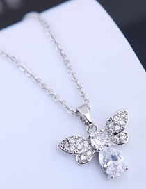 Fashion Silver Copper Micro Inlaid Zircon Bee Necklace