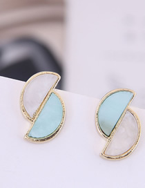 Fashion Blue 925 Silver Needle Crescent Double Earrings