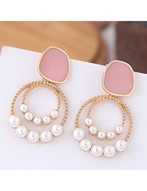 Fashion Pink Pearl Female Earrings