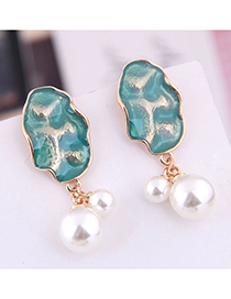 Fashion Blue Contrast Pearl Earrings