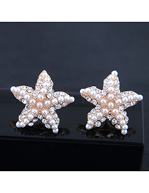 Fashion White Flash Diamond Pearl Starfish Earrings