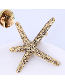 Fashion Gold Metal Starfish Hairpin