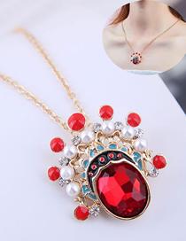 Fashion Red Metal Peking Opera Flower Mask Necklace