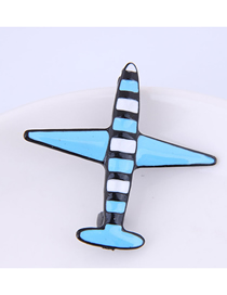 Fashion Blue Small Airplane Brooch