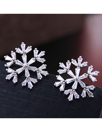 Fashion Silver Copper Micro Inlaid Zircon Snowflake Stud Earrings