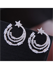 Fashion Silver Copper Micro-inlaid Zircon Curved Moon Star Stud Earrings