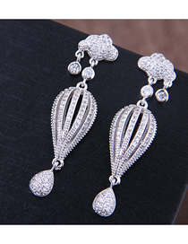 Fashion Silver Copper Micro-inlaid Zircon Parachute Earrings