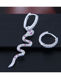 Fashion Silver Copper Micro-inlaid Zircon Snake Asymmetrical Earrings
