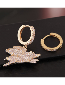 Fashion Gold Copper Micro-inlaid Zircon Animal Asymmetric Earrings