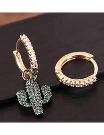 Fashion Gold Inlaid Zircon Ring Asymmetrical Earrings