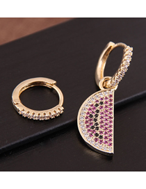 Fashion Gold Inlaid Zircon Watermelon Circle Asymmetric Earrings