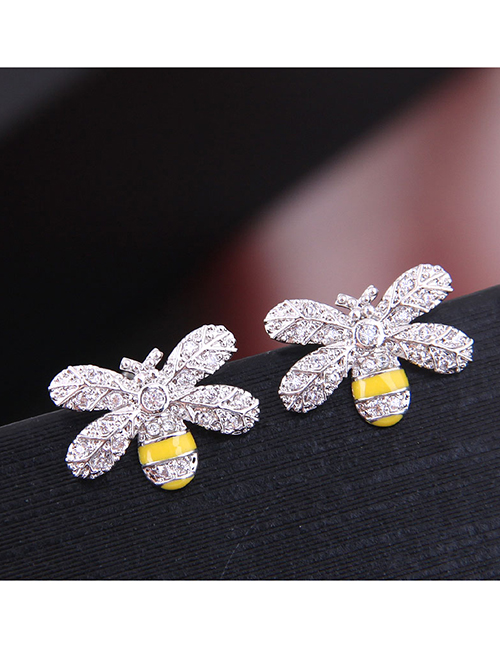 Fashion Silver Copper Micro Inlaid Zircon Bee Stud Earrings
