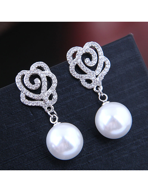 Fashion Silver Copper Micro Inlaid Zircon Rose Pearl Stud Earrings