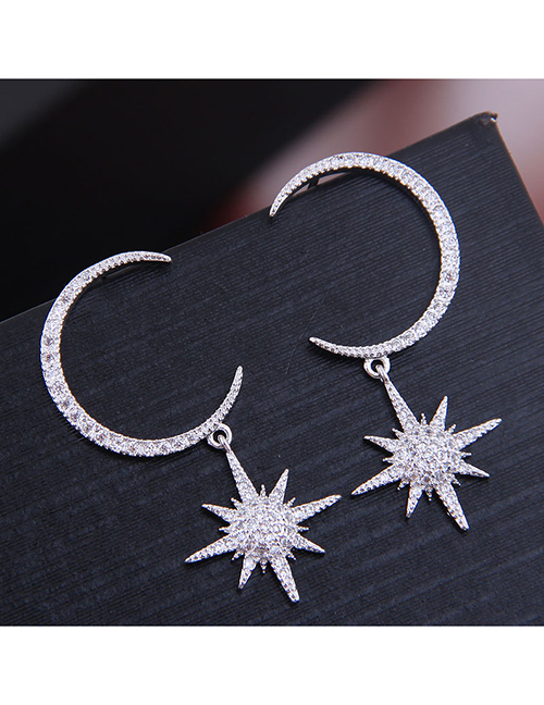 Fashion Silver Copper Micro-inlaid Zircon Star And Moon Earrings