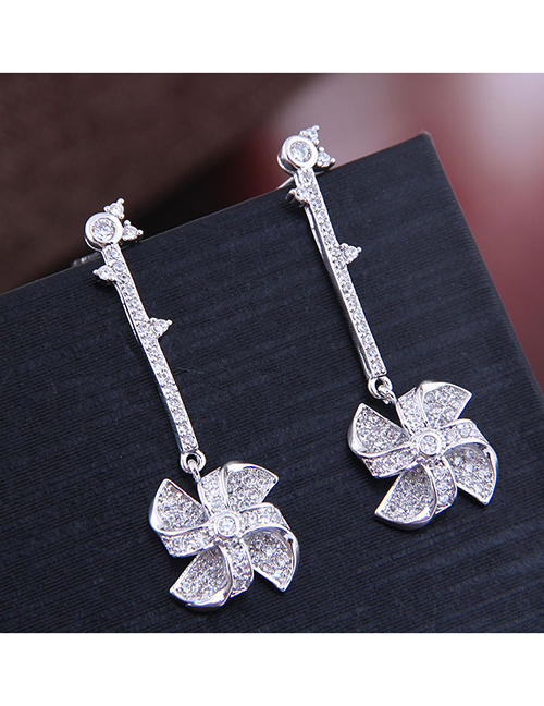 Fashion Silver Copper Micro-inlaid Zircon Windmill Earrings