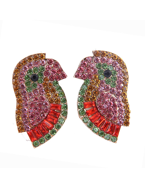 Fashion Red Metal-studded Bird Earrings