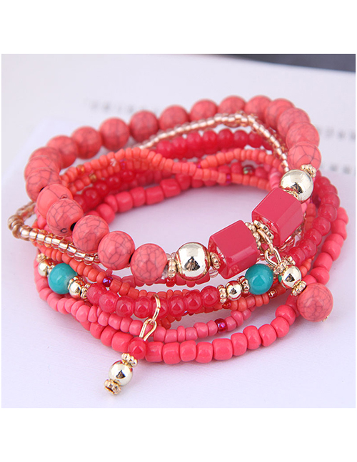 Fashion Red Fine Rice Beads Multi-layer Bracelet