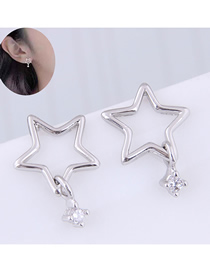 Fashion Silver Copper Plated Gold Five-pointed Star Stud Earrings