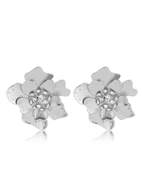 Fashion Silver Metal Contrast Color Flash Diamond Flower Earrings