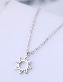 Fashion Silver Copper Plated Gold Sunflower Necklace