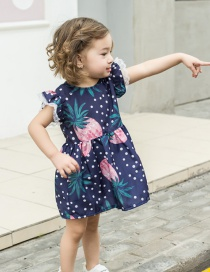 Fashion Polka Dot Pineapple Printed Flying Sleeve Children's Dress
