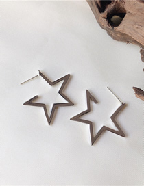 Fashion Silver (silver Needle) Titanium Steel Five-pointed Star Pin Earrings