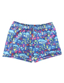 Fashion Blue Bottom Fish Octopus Cartoon Print Children's Swimming Trunks