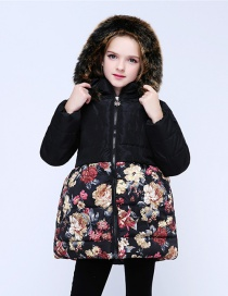 Fashion Black Wool Tie Cap Detachable Flower Print Plus Velvet Children's Coat