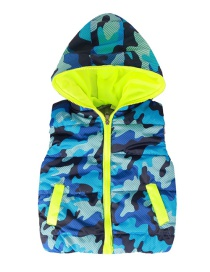 Fashion Camouflage Blue Camouflage Pattern With Cap Children's Vest